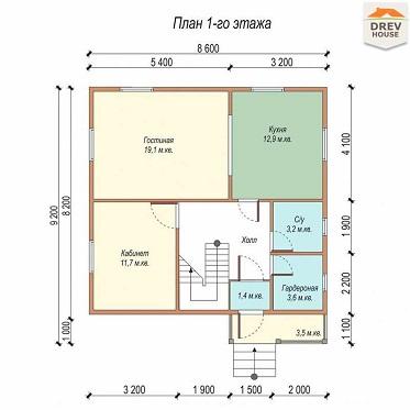 План 1 этажа дома из бруса ДБ-2