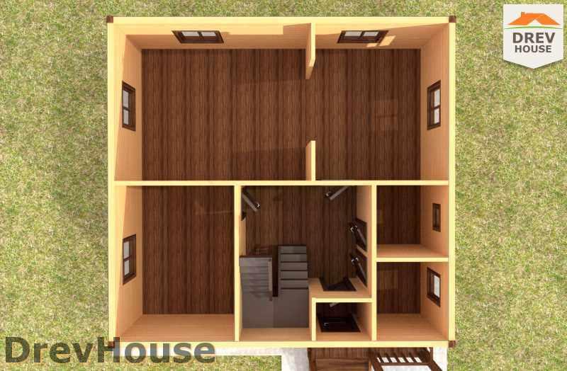 Вид изнутри 1 этажа проекта дома из бруса с мансардой ДБ-2