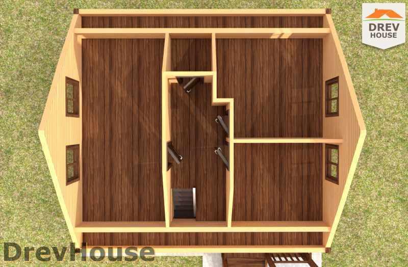 Вид изнутри 2 этажа проекта дома из бруса с мансардой ДБ-2