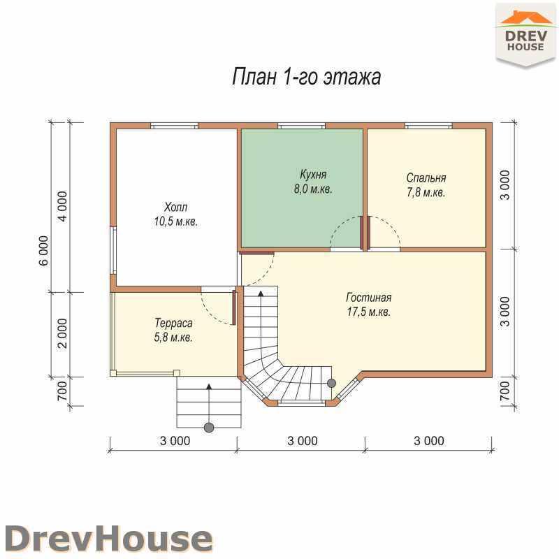 План 1 этажа дома из бруса с мансардой ДБ-3