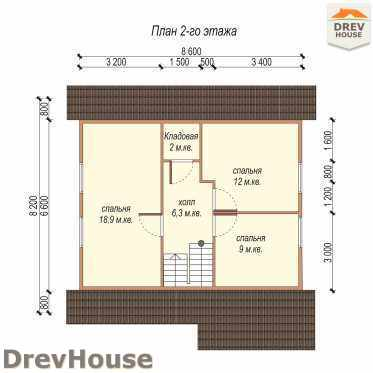 План 2 этажа проекта дома из бруса с мансардой ДБ-2