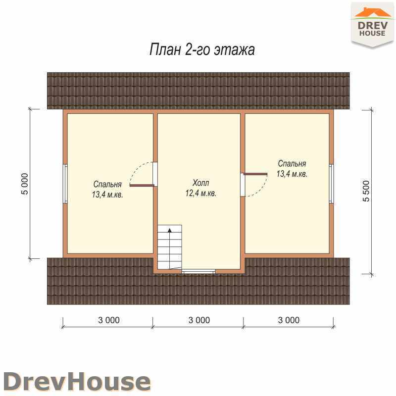 План 2 этажа дома из бруса с мансардой ДБ-3