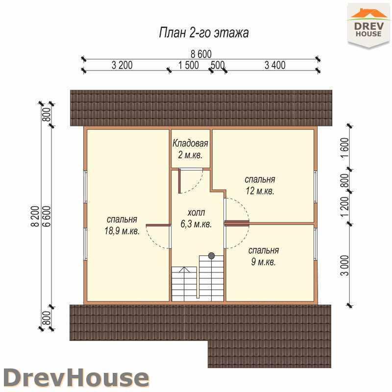 План 2 этажа дома из бруса с мансардой ДБ-2