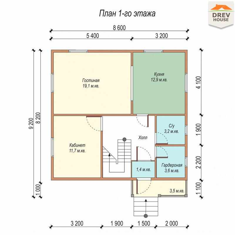 План 1 этажа дома из бруса с мансардой ДБ-2