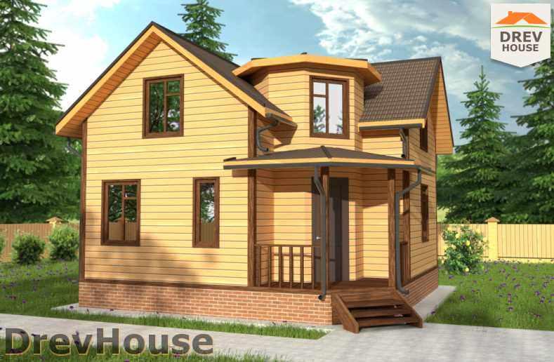 Главное фото проекта полутораэтажного дома из бруса ДБ-55