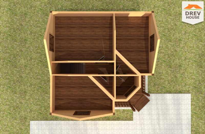 Вид изнутри 2 этажа проекта полутораэтажного дома из бруса ДБ-55