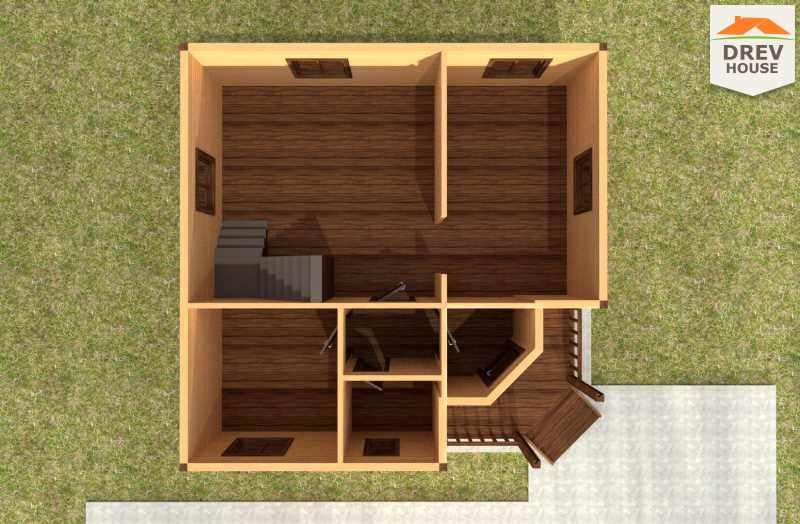 Вид изнутри 1 этажа проекта полутораэтажного дома из бруса ДБ-55