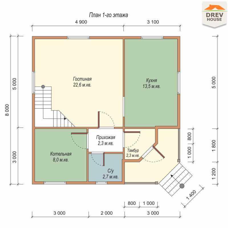 План 1 этажа полутораэтажного дома из бруса ДБ-55