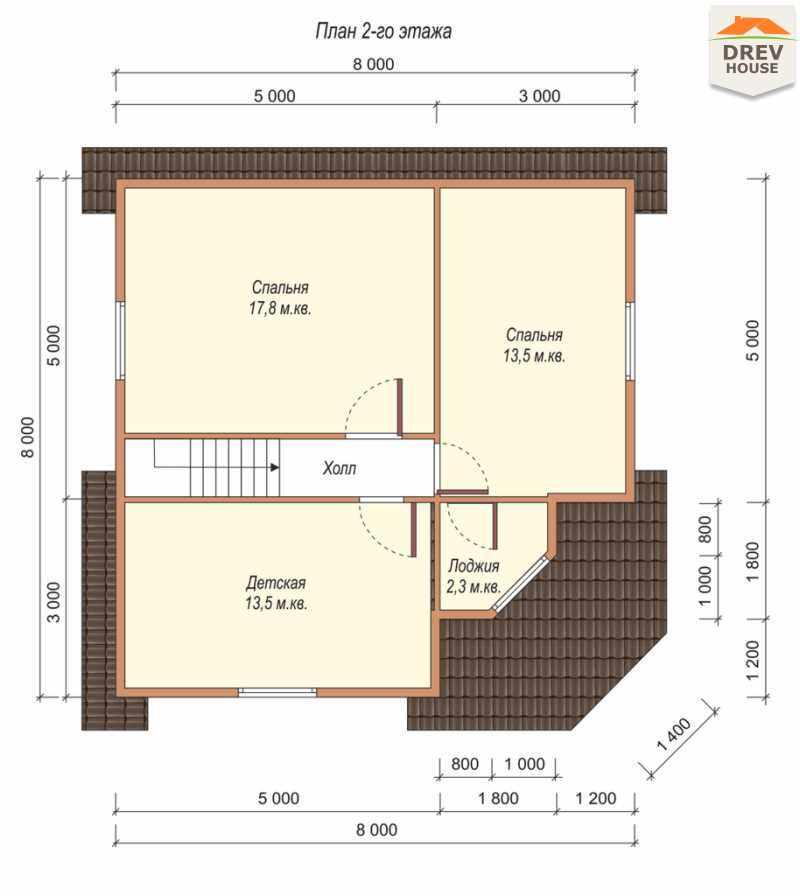 План 2 этажа полутораэтажного дома из бруса ДБ-55