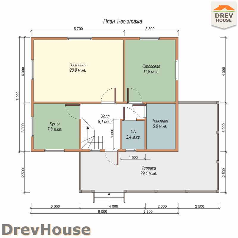 План 1 этажа полутораэтажного дома из бруса ДБ-56