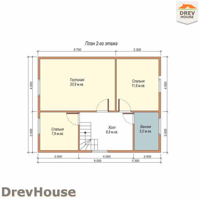План 2 этажа полутораэтажного дома из бруса ДБ-56