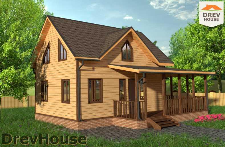 Главное фото проекта полутораэтажного дома из бруса ДБ-56