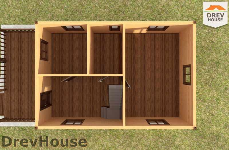 Вид изнутри 1 этажа проекта дома из бруса с мансардой ДБ-4