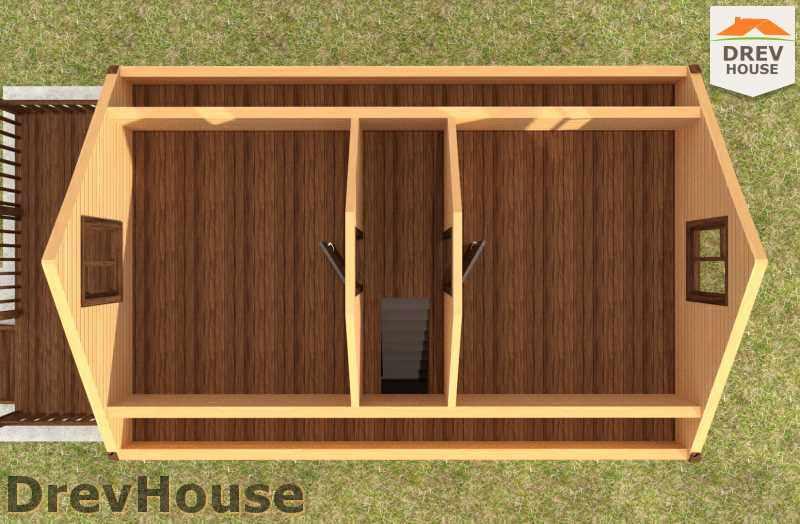 Вид изнутри 2 этажа проекта дома из бруса с мансардой ДБ-4