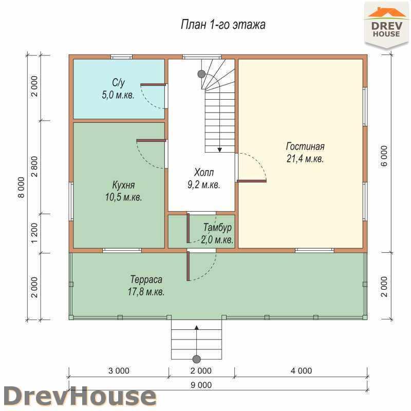 План 1 этажа дома из бруса с мансардой ДБ-51