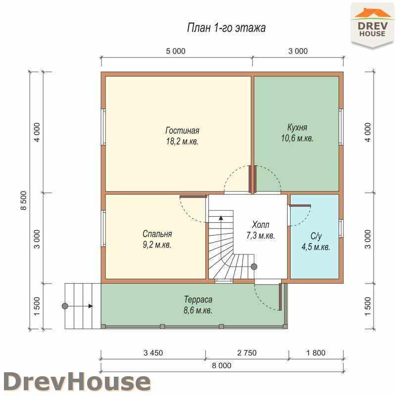 План 1 этажа дома из бруса с мансардой ДБ-54