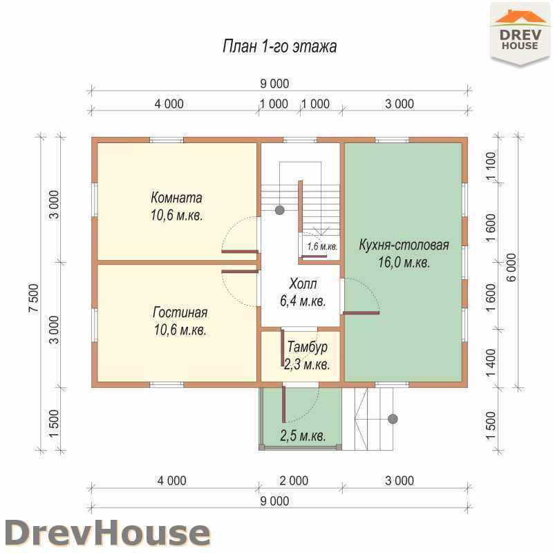План 1 этажа дома из бруса с мансардой ДБ-53