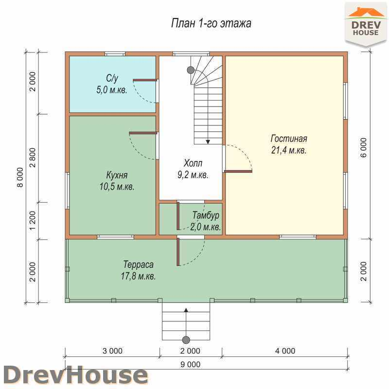 План 1 этажа дома из бруса с мансардой ДБ-52
