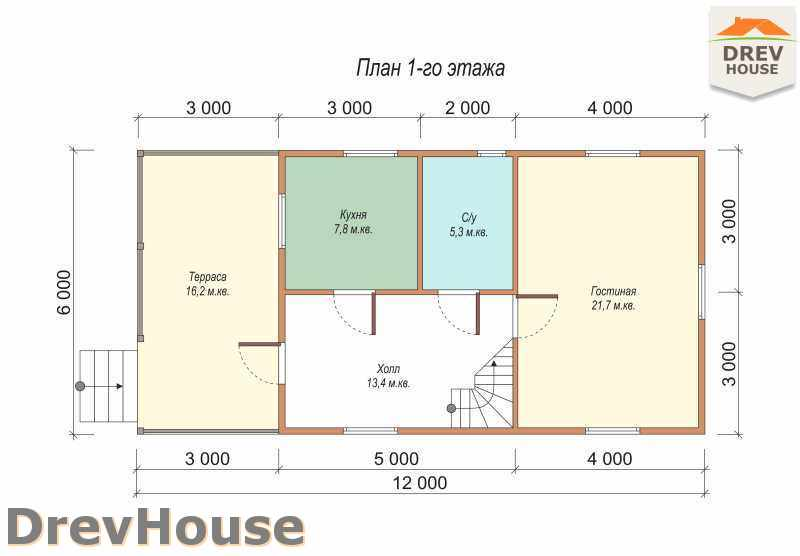 План 1 этажа дома из бруса с мансардой ДБ-4