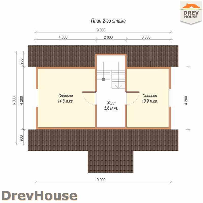 План 2 этажа дома из бруса с мансардой ДБ-53