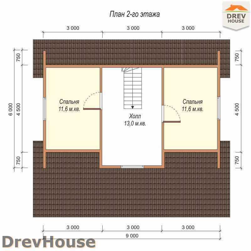 План 2 этажа дома из бруса с мансардой ДБ-52
