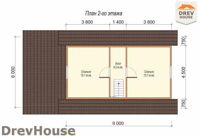 План 2 этажа дома из бруса с мансардой ДБ-4