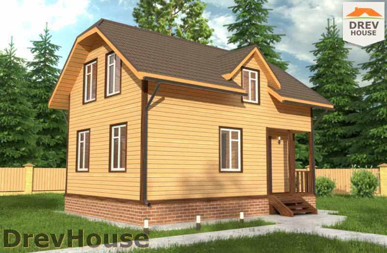 Главное фото проекта полутораэтажного дома из бруса ДБ-1