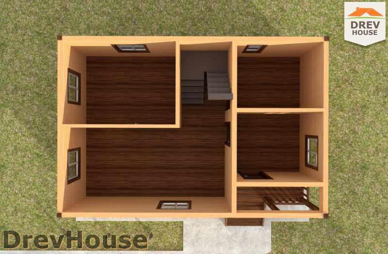 Вид изнутри 1 этажа проекта полутораэтажного дома из бруса ДБ-1