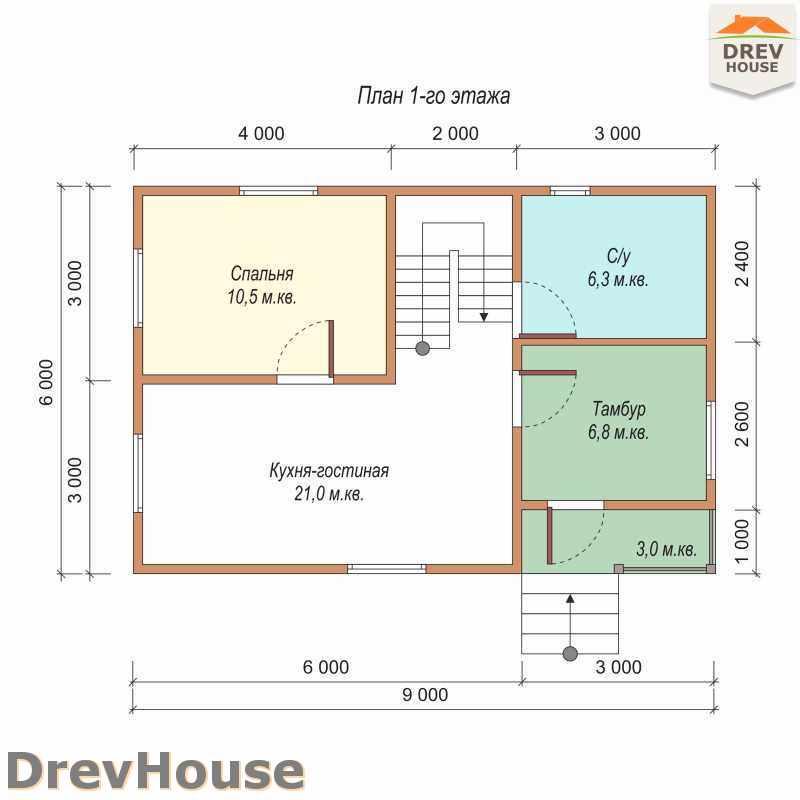 План 1 этажа полутораэтажного дома из бруса ДБ-1