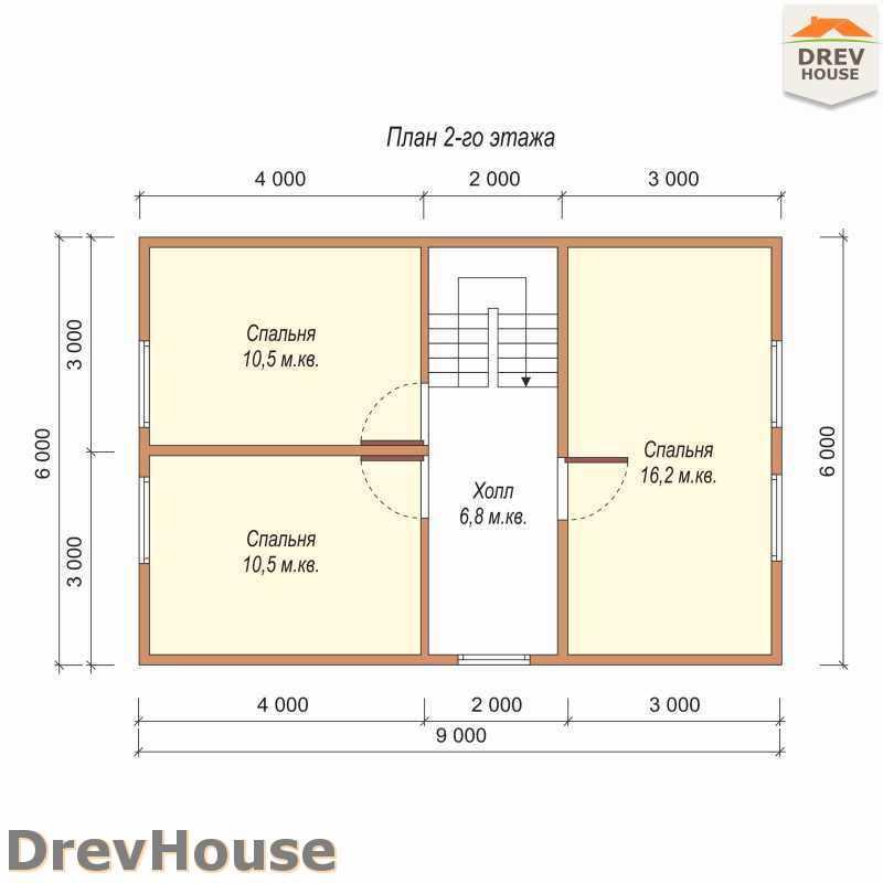 План 2 этажа полутораэтажного дома из бруса ДБ-1