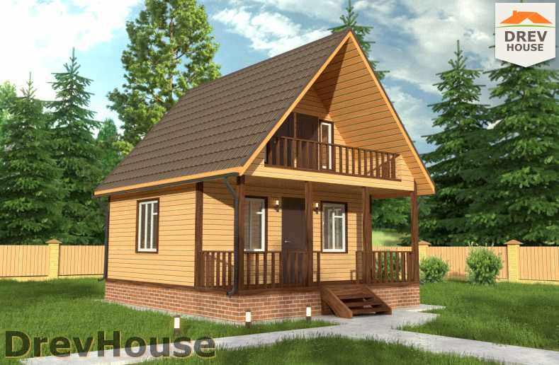 Главное фото проекта дома из бруса с мансардой ДБ-50