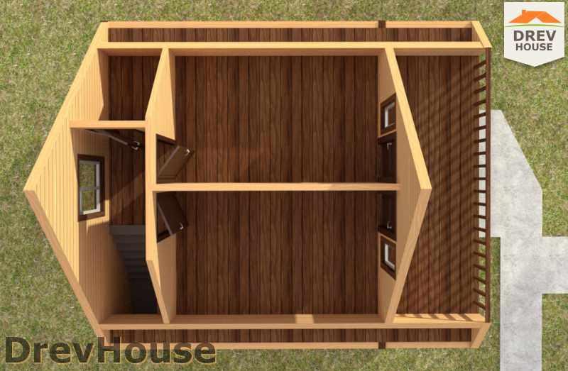 Вид изнутри 2 этажа проекта дома из бруса с мансардой ДБ-50