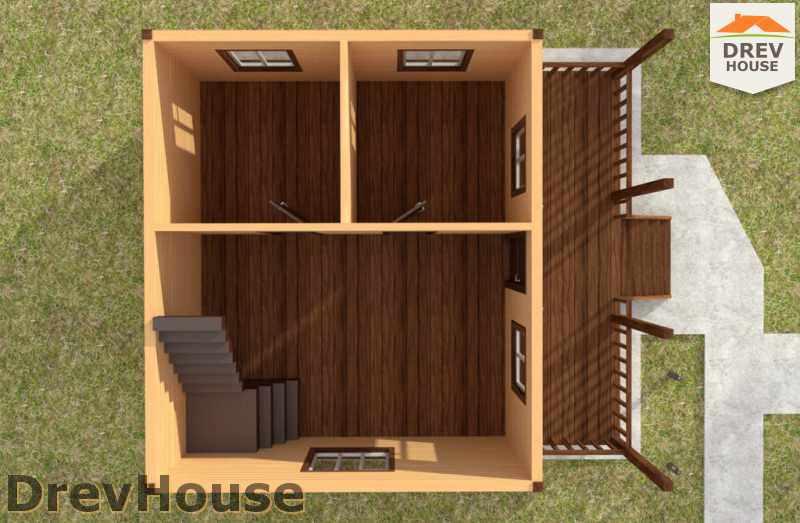 Вид изнутри 1 этажа проекта дома из бруса с мансардой ДБ-50