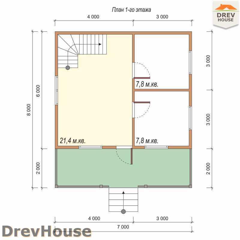 План 1 этажа дома из бруса с мансардой ДБ-50