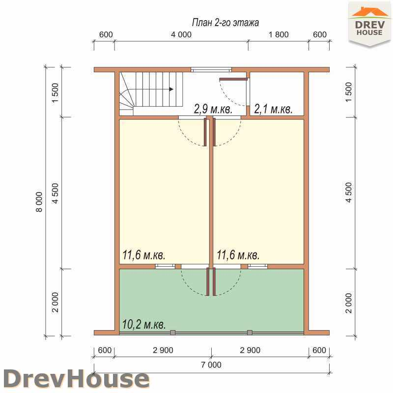 План 2 этажа дома из бруса с мансардой ДБ-50