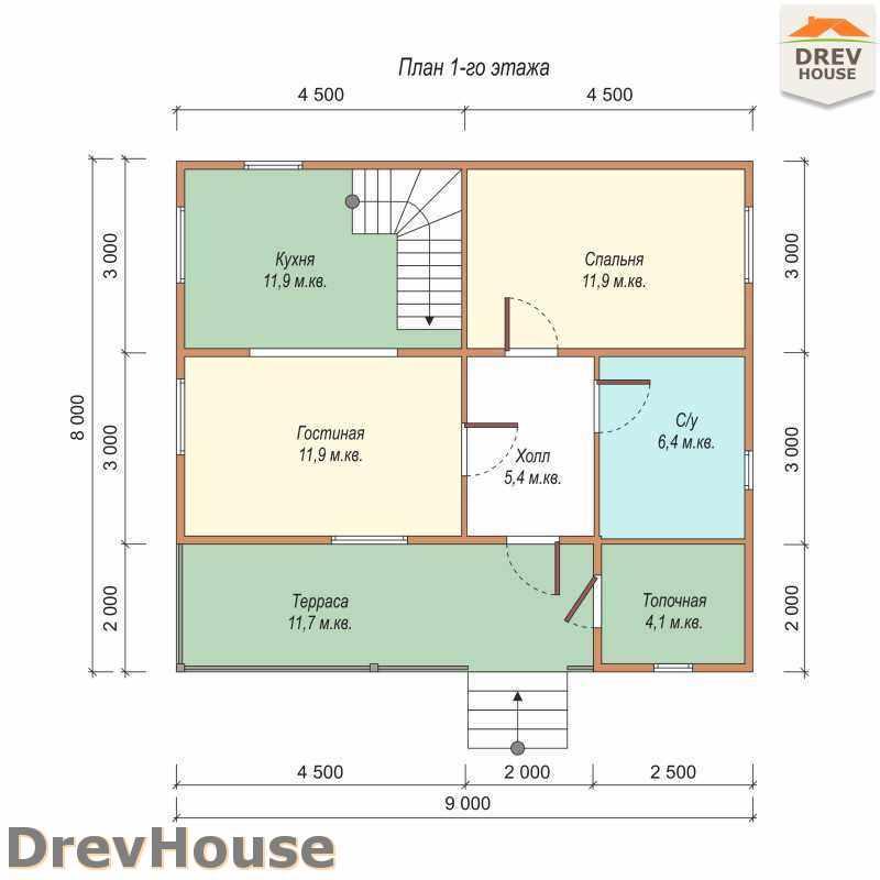 План 1 этажа дома из бруса с мансардой ДБ-49