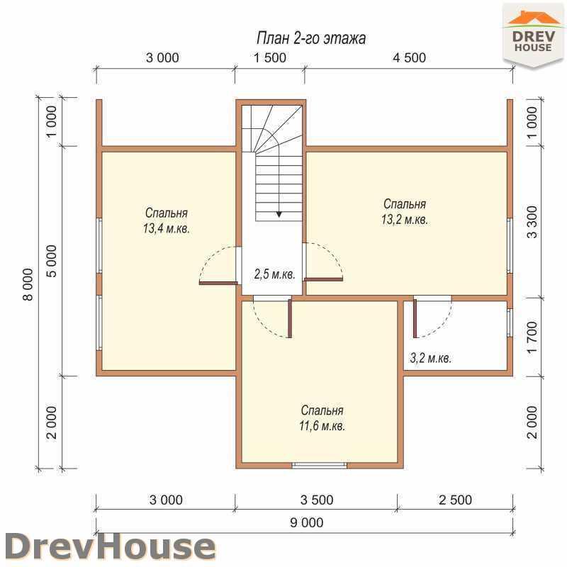 План 2 этажа дома из бруса с мансардой ДБ-49