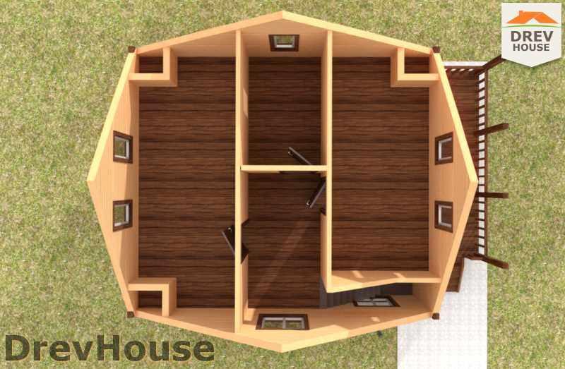 Вид изнутри 2 этажа проекта дома из бруса с мансардой ДБ-48