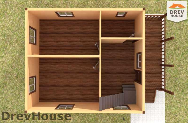 Вид изнутри 1 этажа проекта дома из бруса с мансардой ДБ-48