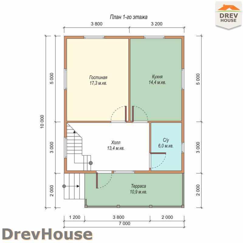 План 1 этажа дома из бруса с мансардой ДБ-48