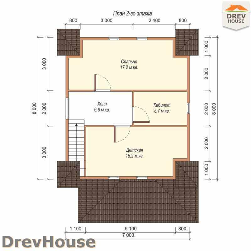 План 2 этажа дома из бруса с мансардой ДБ-48