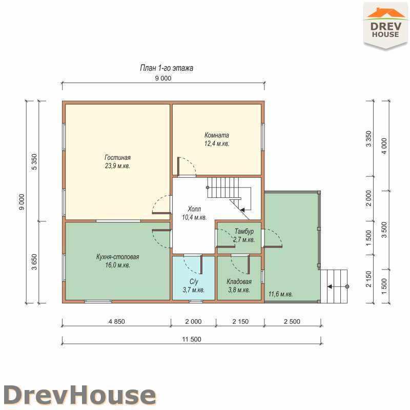 План 1 этажа дома из бруса с мансардой ДБ-47