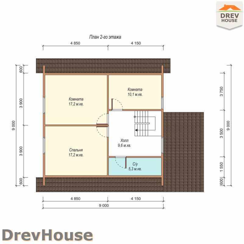 План 2 этажа дома из бруса с мансардой ДБ-47