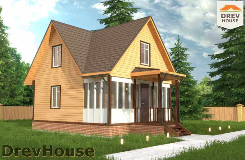 Главное фото проекта дома из бруса с мансардой ДБ-46