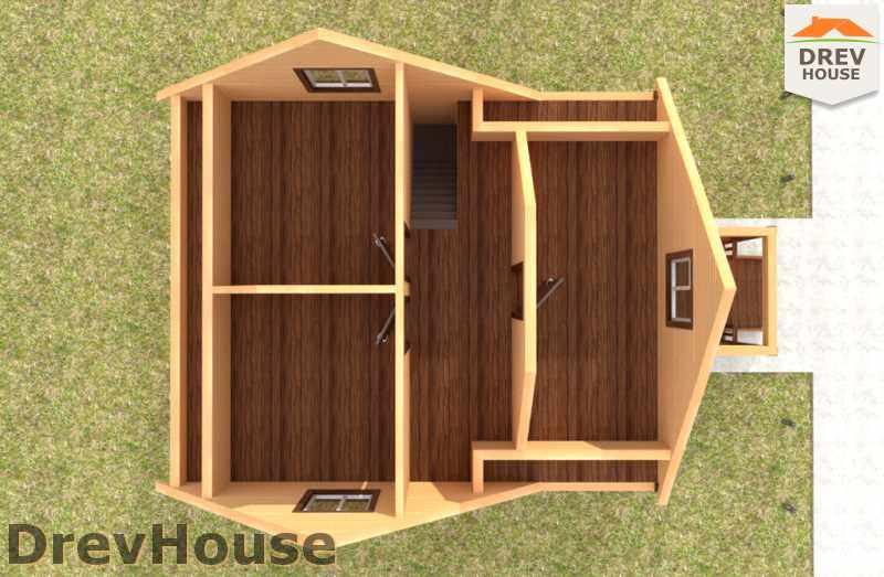 Вид изнутри 2 этажа проекта дома из бруса с мансардой ДБ-46
