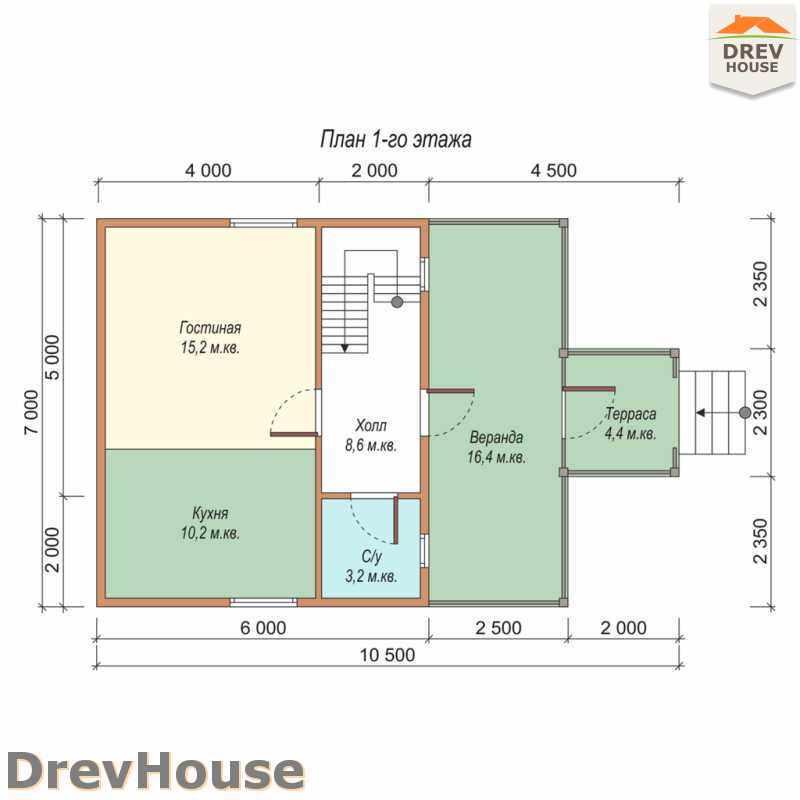 План 1 этажа дома из бруса с мансардой ДБ-46