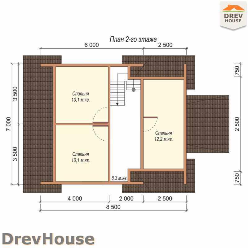 План 2 этажа дома из бруса с мансардой ДБ-46