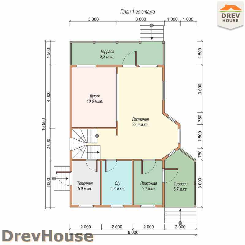План 1 этажа дома из бруса с мансардой ДБ-45