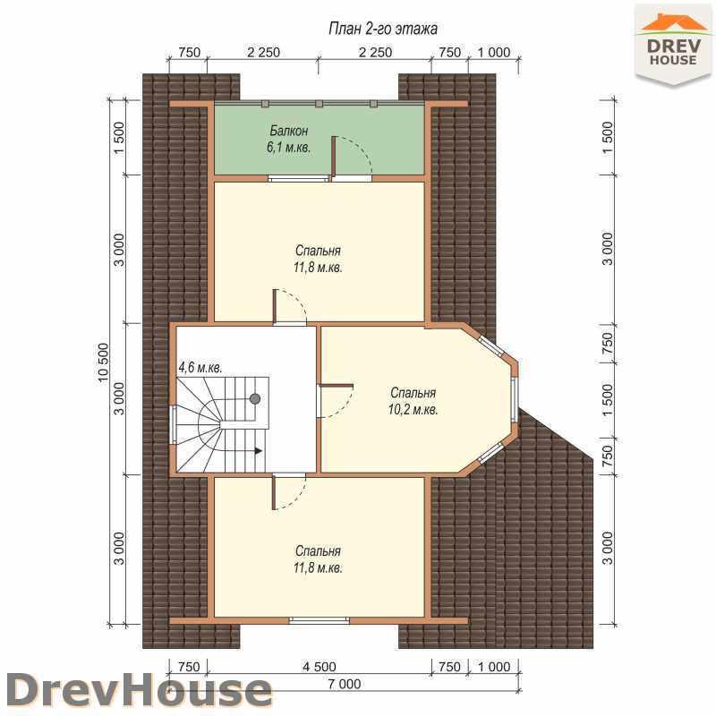 План 2 этажа дома из бруса с мансардой ДБ-45
