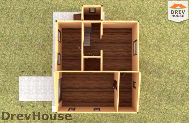 Вид изнутри 1 этажа проекта дома из бруса с мансардой ДБ-44